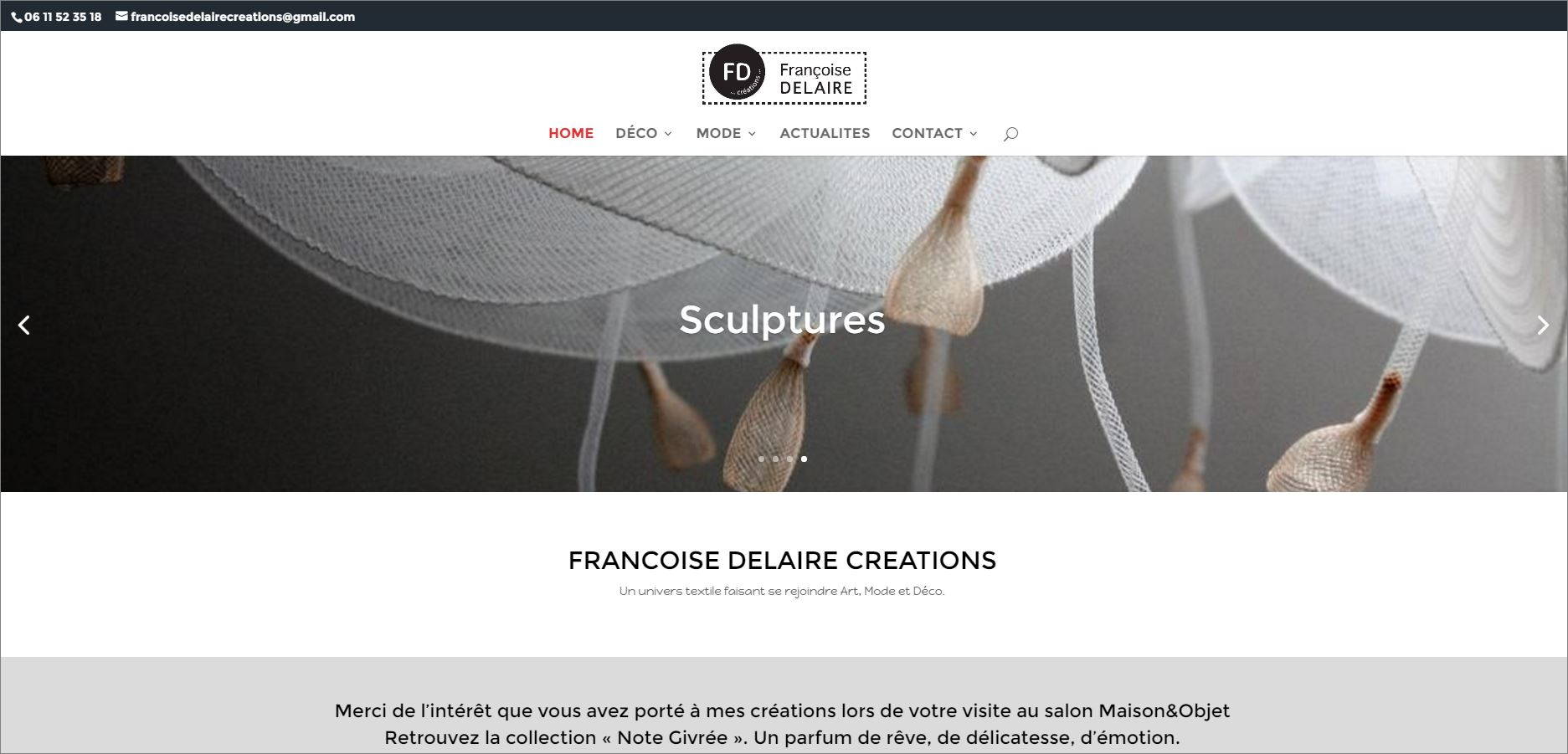 Mise à jour du site et création de l'eshop Françoise Delaire